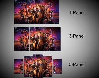 Framed Avengers Infinity War, Avengers wall art, Iron Man, Hulk, Thor, Captain America, Thanos Wall Canvas Art