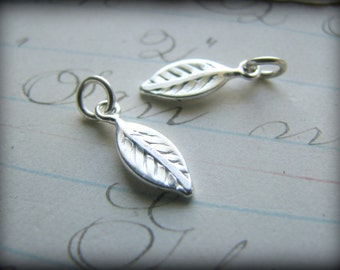 One (1) Petite Leaf Charms - Sterling Silver Handstamped Initial Letter Add On Tag Necklace Bracelet Earrings