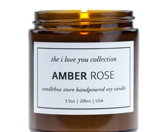 2 Pack Gift Set, Scented Soy Candles, Rich Amber and Red Rose Scent Candle with Creamy Vanilla, Sandalwood and Musk, CandleBox Store
