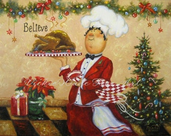 Christmas Chef Original Painting, fat chefs chef paintings chef prints chef art kitchen, red, Christmas wall decor, canvas,  Vickie Wade art