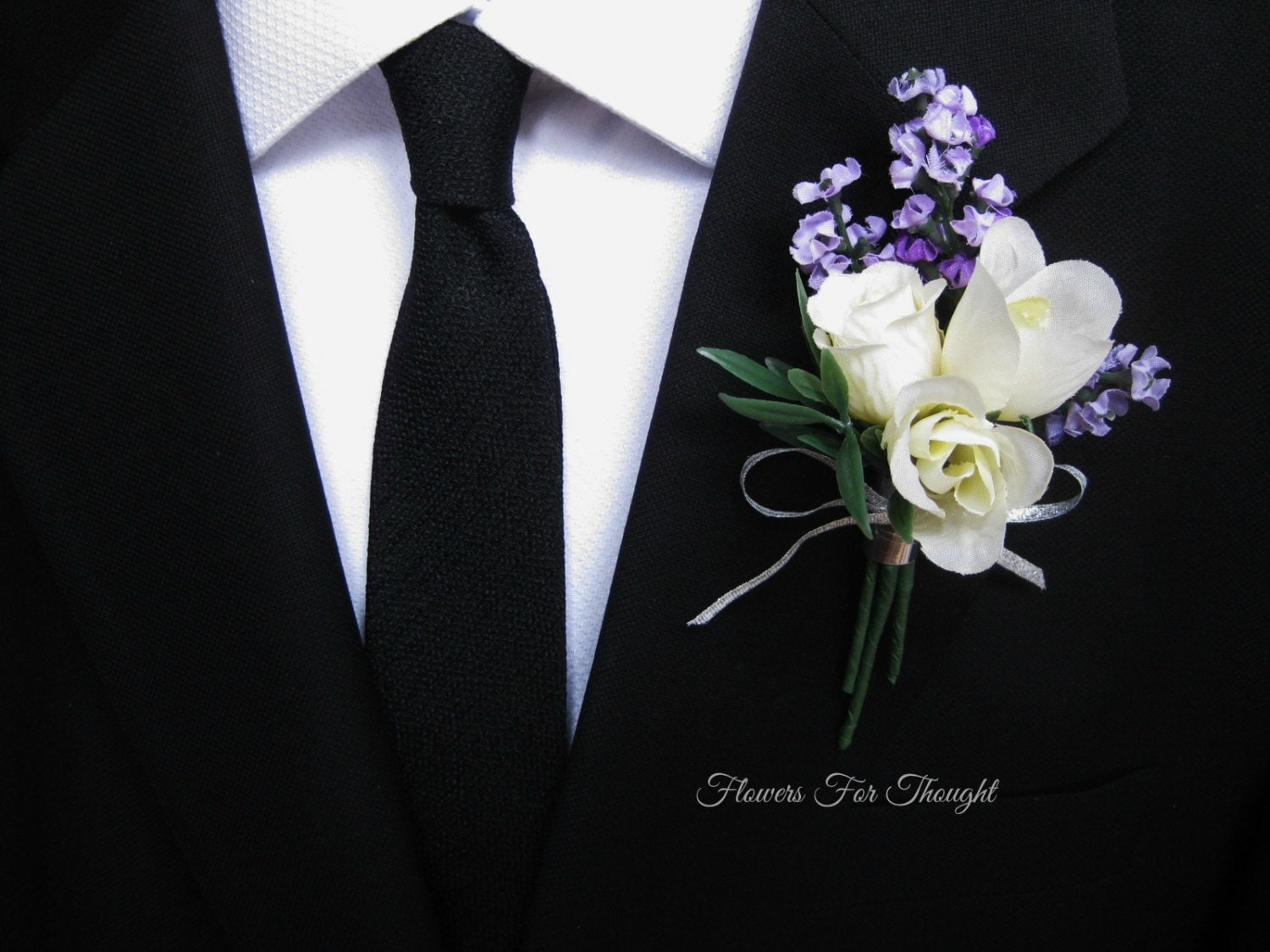 Lavender Rose Boutonniere Groomsmen Lapel Pin Cream And