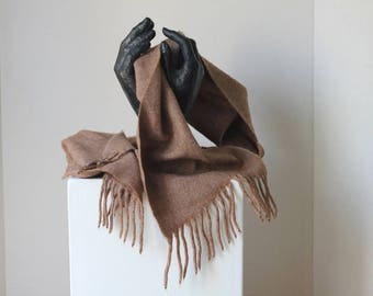 One solid colour Monochromatic brown camel beige Shawl Scarf Wool acrylic blend Fringed Warm Gentle made in Italy Unisex