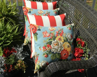 """SET OF 4 20"""" Indoor / Outdoor Throw Pillows - 2 Blue, Red, Yellow Floral & 2 Red and White Stripe Decorative Pillows"""