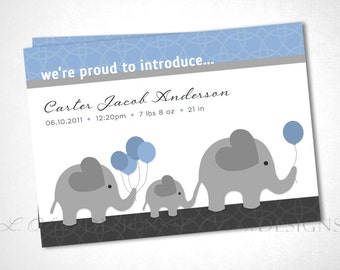 Marching Elephant Family Birth Announcement - Blue - DIY Printable