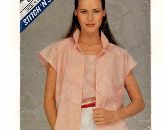 """A Buttoned, Extended Sleeve Blouse and Pullover Shoulder-Strap Cami Pattern for Women: Sizes 6 & 8, Bust 30-1/2"""" - 31-1/2"""" • McCall's 8491"""