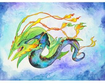 Pokemon Mega-Rayquaza Dragon redesign illustration - 11x14 inch print