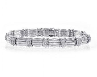 2.75 Carat Round Brilliant Cut Diamond Fancy Bracelet 14K White Gold