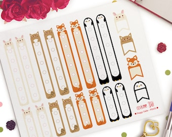 Animals Checklists Planner Stickers | Erin Condren Horizonta| Vertical |  PD031 | Fox | Bunny Rabbit | Penguins | Cats