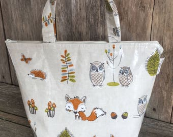 Insulated lunch bag,Cool bag,School bag,Tote bag,Lunch bag,woodland fox and owl oilcloth