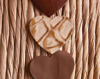 set of 3 hearts #2 leather