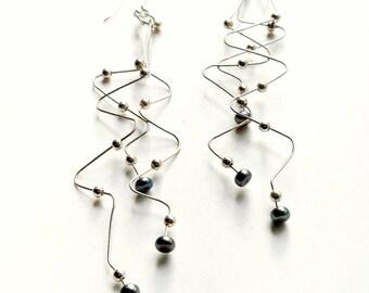 925 Sterling Silver Zig Zag Pearl Earrings