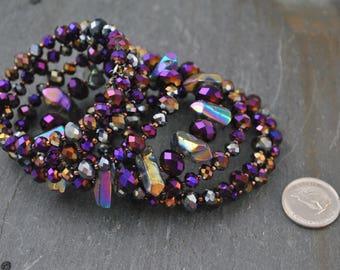 Purple Passion - Seven Strand Memory Wire Crystal Bracelet