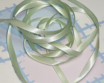 SEAFOAM GREEN DouBLe FaCeD SaTiN RiBBoN, Polyester 1/4 inch wide, 5 Yards