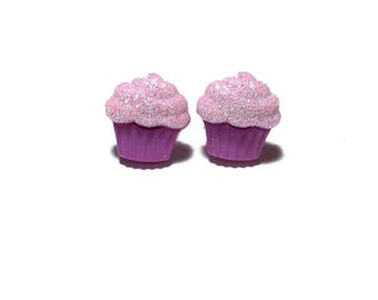 Purple Cupcake Earrings, Cupcake, Foodie Gift, Stud Earrings, Post Earrings, Gift, under 5 dollars, gift for her, Pastry Chef, Valentines