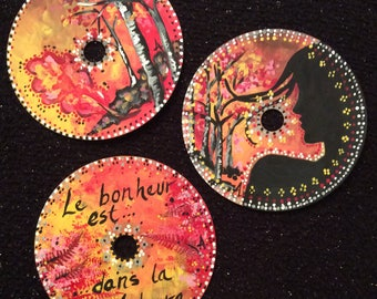 Mandala Trio Nature acrylic recycled CD handpainted with magnets