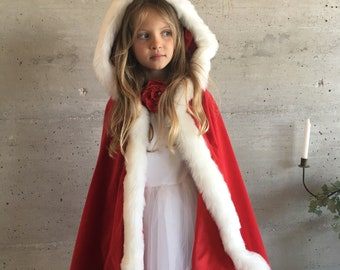 Little Red Riding Hood cape 3/5 years, disguise for kids made in France