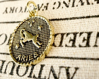 Zodiac Aries charm gold vintage style pendant jewellery supplies C228