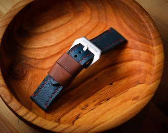 24 mm handmade leather strap / navy blue and brown leather with red stitching