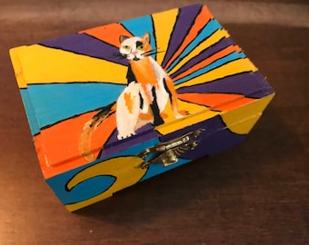 Psychedelic Calico Cat Box