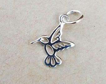 Tiny Sterling Silver Hummingbird Charm, Hummingbird Jewelry, Sterling Silver Charm, Hummingbird Necklace, Bird Charm
