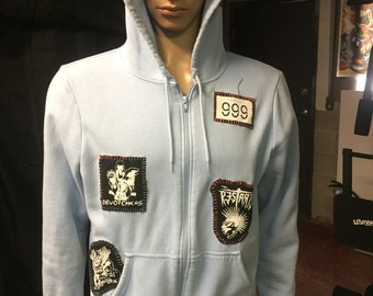 Punk Rock Exploited light blue patched hoodie men's size M