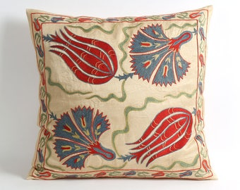 suzani pillowcase 18x18, pillow, embroidered pillow, suzani bedding, pillows, uzbekistan, embroidery pillow, red blue floral