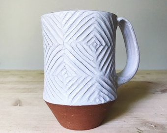 Ceramic Mug (Made to Order) - Carved Terracotta Jumbo Mug - Red Clay Mug - Modern Handmade - Pottery by Osa