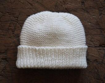 Size 2 100% merino wool hand knitted beanie