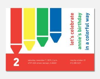 Rainbow Birthday Party Invitation, Crayon Birthday Invitation, Custom Invitation, Art Birthday Party, Printable PDF, Flying Pinwheel