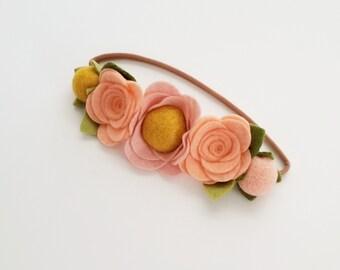 Flower Crown / Floral Headband / Rose Flower Crown / Woodland Flower Crown / Toddler Flower Crown / Girls Flower Crown / Newborn Photo Prop
