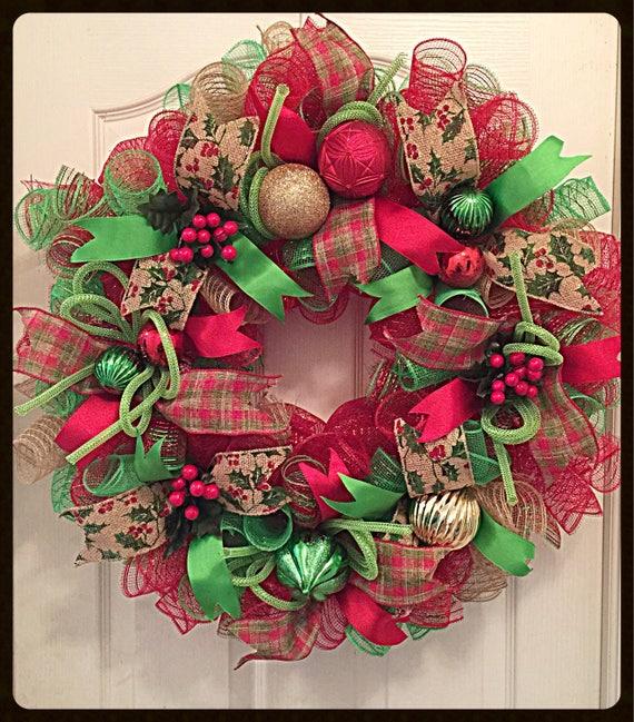 Red Deco Mesh Wreath