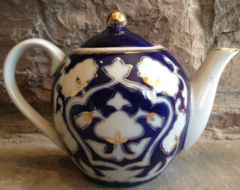 Blue White Pakhta Teapot Cobalt & Gold Gilt Personal Vintage Tea Pot - #2811