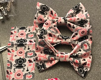 Pink and Black Paris inspired Hair Bow