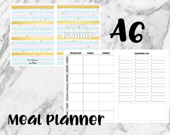 A6 PRINTABLE Inserts - Meal Planner