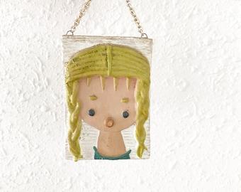Vintage Pottery Wall Plaque / Hungarian Girl Wall Hanging / Hungary