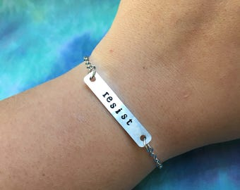 Resist Bracelet - Not My President Bracelet - The Resistance Bracelet - Resist Chain Bracelet - Equal Rights - Human Rights - Bad Hombre