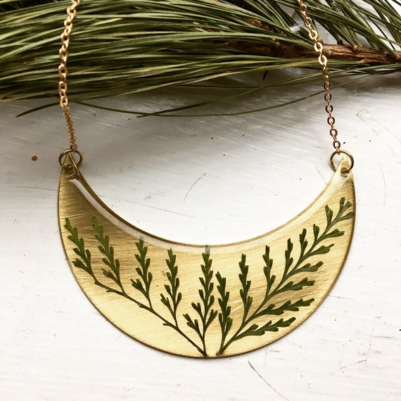 lacy fern brass crescent statement necklace