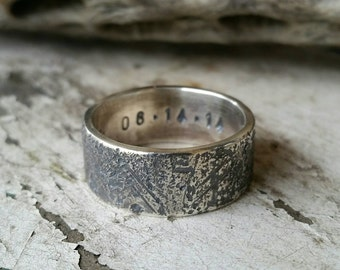Distressed Silver Mens Wedding Band, Men's Silver Engagement Ring, 9mm, Sterling Silver, Rustic, Rugged, Masculine, Manly Ring, Steampunk