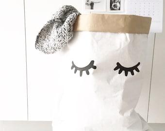 yeux fermés/cils en papier sac, de stockage ou de jouets, de livres...