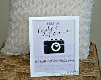Custom Wedding Hashtag Sign, Digital Print