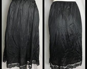 Sliperfection Black Stretch Nylon Half Slip with Lace Hem in Midi Length - 1X