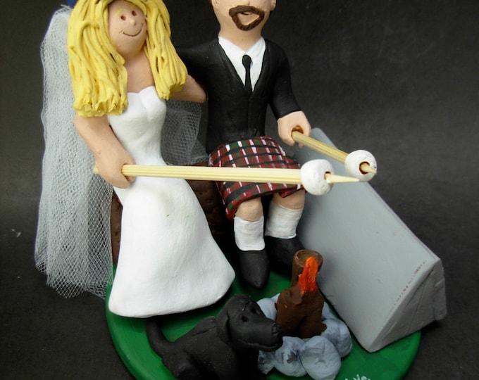 Camper's Wedding Cake Topper, Campfire Marshmallows Wedding Cake Topper, Marshmallow Wedding Cake Topper, Groom in Kilt Wedding Cake Topper