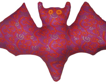 Red and Orange Swirl Purple Bat Pillow