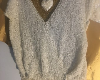FREE ShippingJune(domestic only)Cream Cotton Knit/ V-Neck Crocheted Sweater/Size M