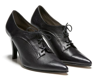 Heisenberg Womens Leather Shoes Black High Heel Lace Up Tie Booties Oxford Pumps Stiletto Boots Pointed Toe Winter Dress Ankle Wedding Prom