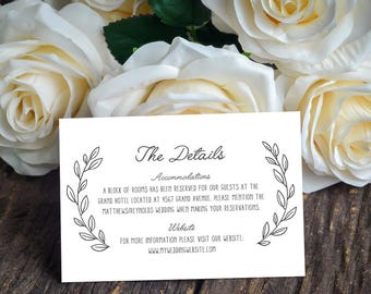Printable Info Card - Info Card Template - DIY Wedding Template - Rustic Info Card - Instant Download - Wreath Collection