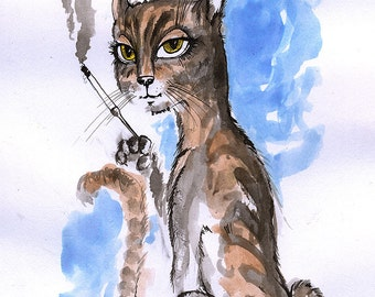 pussycat with a cigarette, feline art, cat illustration, kitty, original ink painting