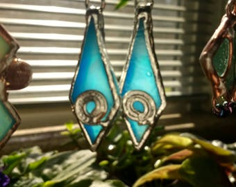 Blue glass and copper earrings