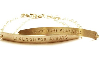 Personalized Bracelet, Unique Gift, LONG Gold Bar Bracelet, Gold Bracelet, Gift for Her, ID Bracelet, Nameplate Bracelet, The Silver Wren