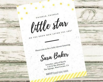 Twinkle Twinkle Little Star Custom Baby Shower Invitation, Baby Shower, PDF Instant Download, Shower Invitation